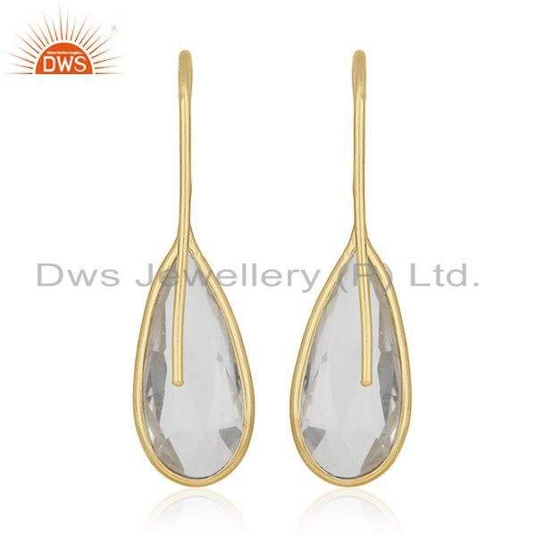 Suppliers Gold Plated Sterling Silver Crystal Drop Earrings Wholesale Supplier of Jewelry