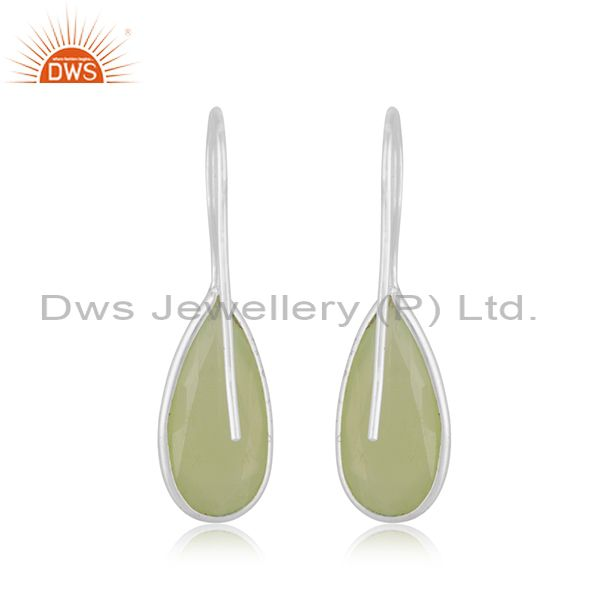 Suppliers Prehnite Chalcedony Gemstone Fine Sterling Silver Drop Earrings Manufacturer