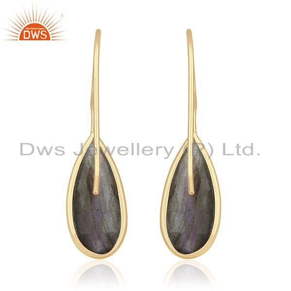 Suppliers Labradorite Gemstone 925 Silver Gold Plated Earrings Manufacturer of Jewelry