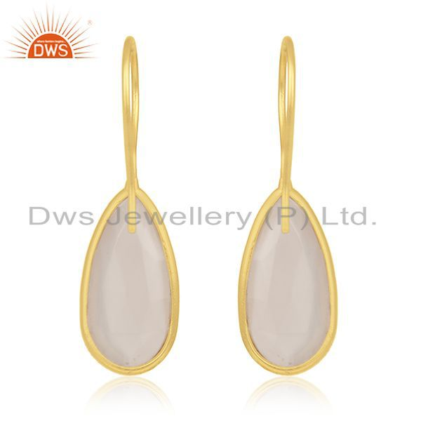Suppliers Rose Chalcedony Gemstone Gold Plated 925 Silver Dangle Earring Manufacturer