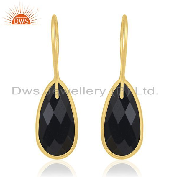 Suppliers Black Onyx Gemstone 925 Sterling Silver Gold Plated Earring Manufacturer Jewelry