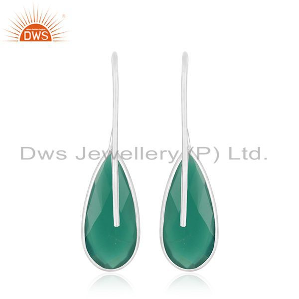 Suppliers Green Onyx Gemstone 925 Sterling Fine Silver Dangle Earring Manufacturers