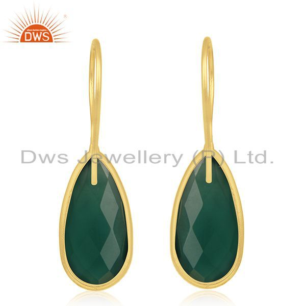 Suppliers Handmade Gold Plated 925 Silver Green Onyx Gemstone Earrings Wholesale