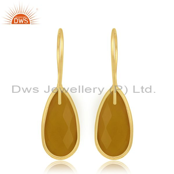 Suppliers Yellow Chalcedony Silver Gold Plated Earring Jewelry