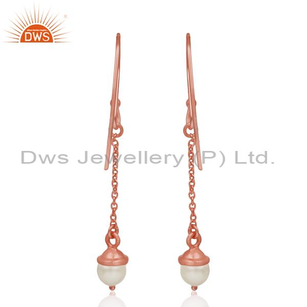 Suppliers Rose Gold Plated 925 Silver Natural Pearl Designer Earrings Manufacturer India