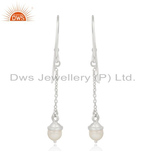 Suppliers Sterling 92.5 Silver Natural Pearl Handmade Chain Earrings Manufacturer