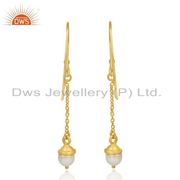 Suppliers 92.5 Sterling Silver Gold Plated Natural Pearl Earrings Manufacturer of Jewelry
