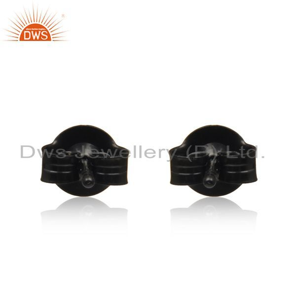 Suppliers Black Rhodium Plated 925 Silver Pyrite Gemstone Stud Earrings Manufacturer