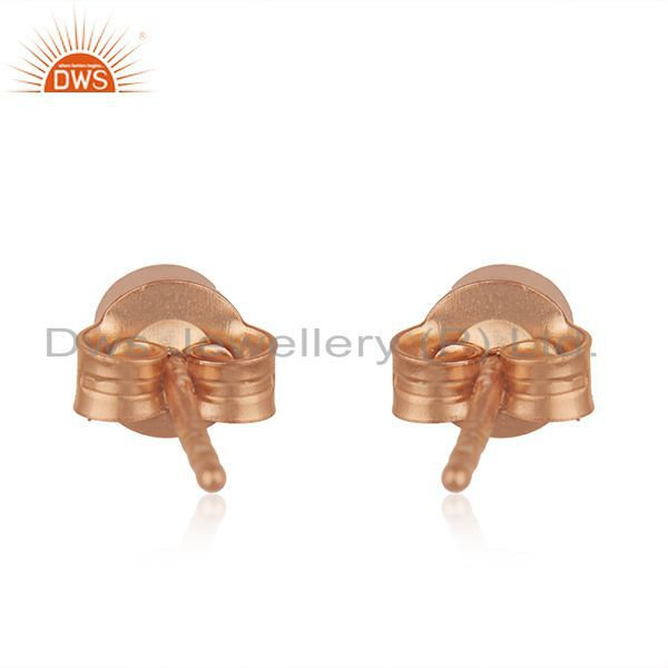 Suppliers Rose Gold Plated Handmade 925 Silver Ruby Corundum Stone Stud Earrings Wholesale