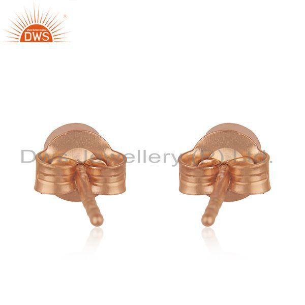 Suppliers Rose Gold Plated Sterling Silver White Topaz Round Stud Earrings Wholesaler