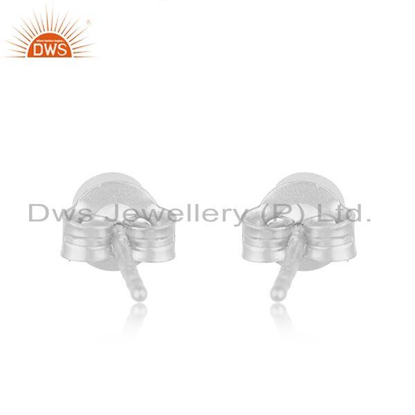 Suppliers Handmade 925 Sterling Fine Silver White Topaz Round Stud Earrings Wholesale