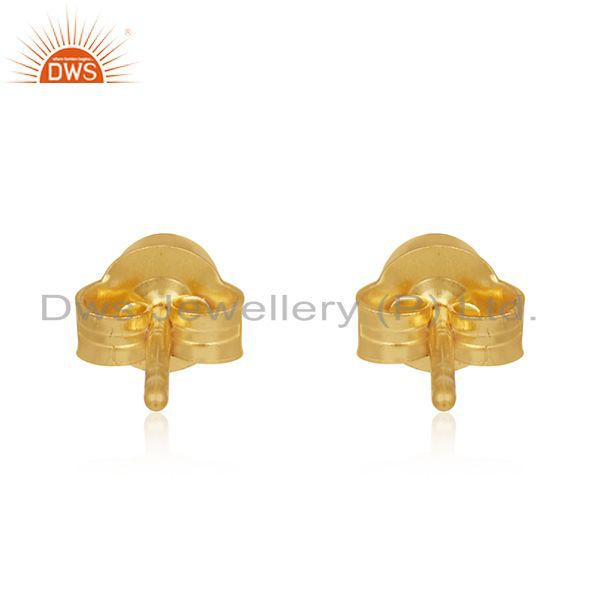 Suppliers White Topaz Gold Plated Sterling Silver Stud Earrings Manufacturer India