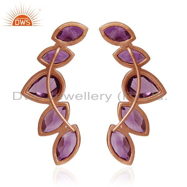 Suppliers Amethyst Gemstone Rose Gold Plated Sterling Silver Cuff Earrings Manufacturer