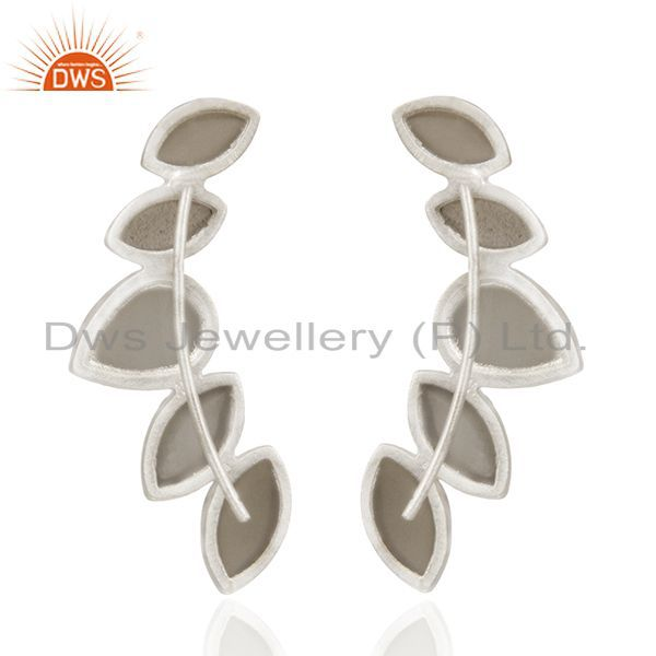 Suppliers Gray Moonstone 925 Sterling Silver Dangle Earrings Manufacturers India