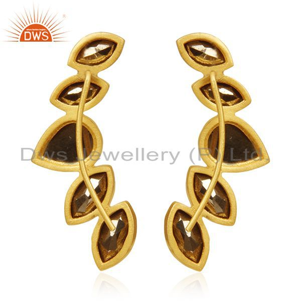 Suppliers Gold Plated 925 Silver Pyrite Gemstone Dangle Earrings Manufacturer India