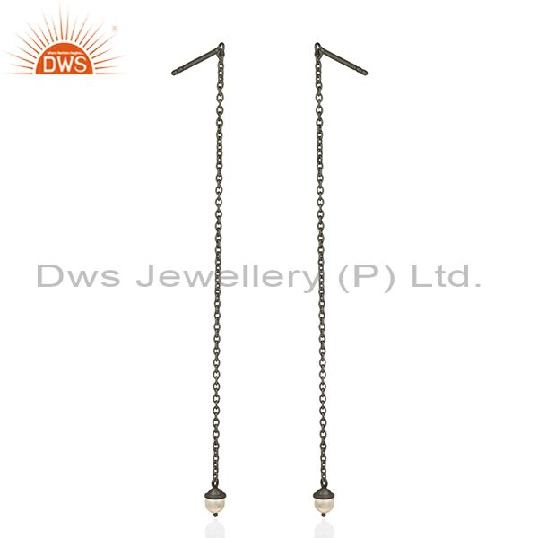 Suppliers Black Rhodium Plated Sterling Silver Pearl Earrings Manufacturer of Jewelry
