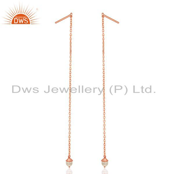 Suppliers Rose Gold Plated Sterling Silver Pearl Designer Earrings Manufacturer India