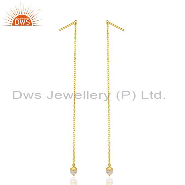 Suppliers Natural Pearl Gold Plated Sterling Silver Designer Chain Earrings Manufacturer