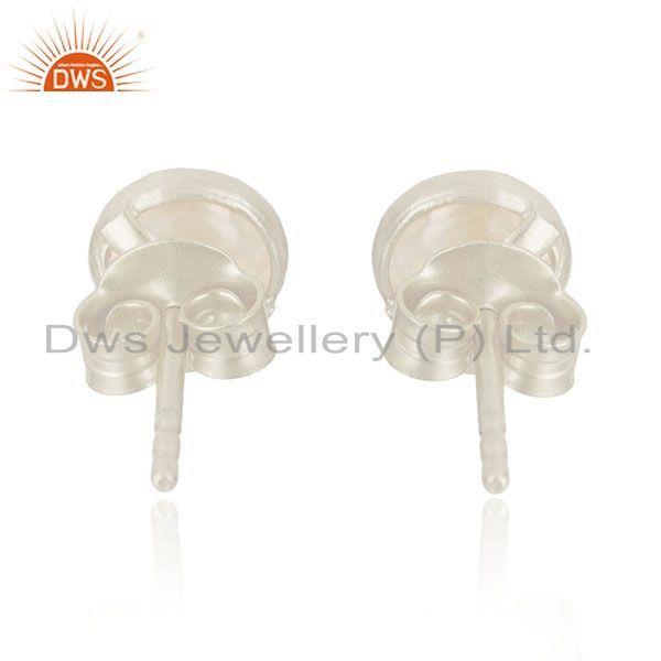 Suppliers 92.5 Fine Sterling Silver Natural White Rhodium Plated Stud Earrings Manufacture