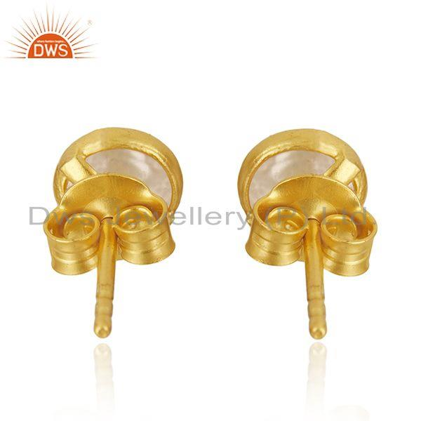 Suppliers Natural Pearl Gold Plated 92.5 Sterling Silver Round Stud Earrings Manufacturer