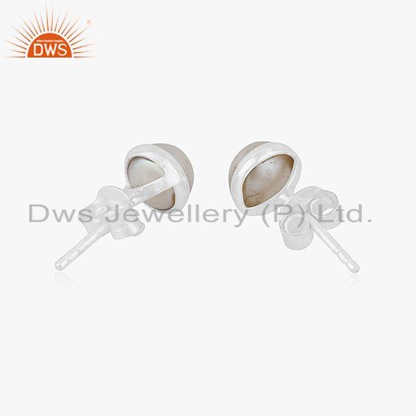 Suppliers Natural Pearl Gemstone Fine Silver Tinny Stud Earrings Jewelry