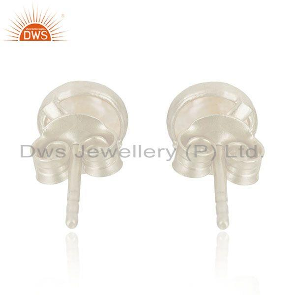 Suppliers 92.5 Fine Sterling Silver Natural Pearl Round Stud Earrings Manufacturer India