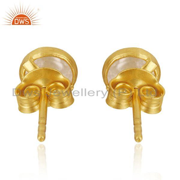 Suppliers 18k Gold Plated 925 Sterling Silver Natural Pearl Round Stud Earrings Supplier