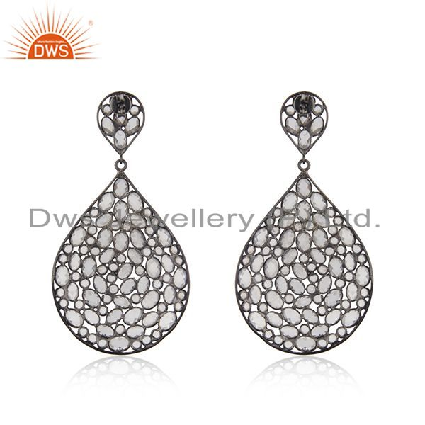 Suppliers White Zircon Gemstone Rhodium Plated Silver Wedding Earring Jewelry