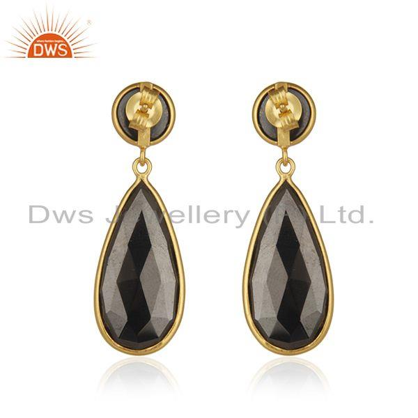 Suppliers Hematite Gemstone Gold Plated 925 Silver Designer Earrings Manufacturer India