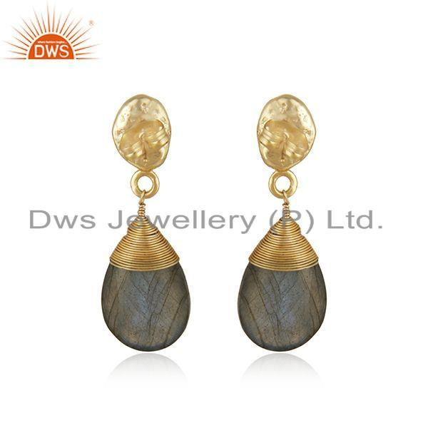 Suppliers Womens Brass Gold Plated Fashion Labradorite Gemstone Drop Earrings