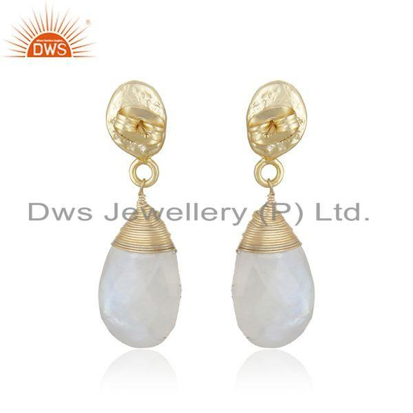 Suppliers New Rainbow Moonstone Gemstone Brass Gold Plated Fashion Dro Earrings