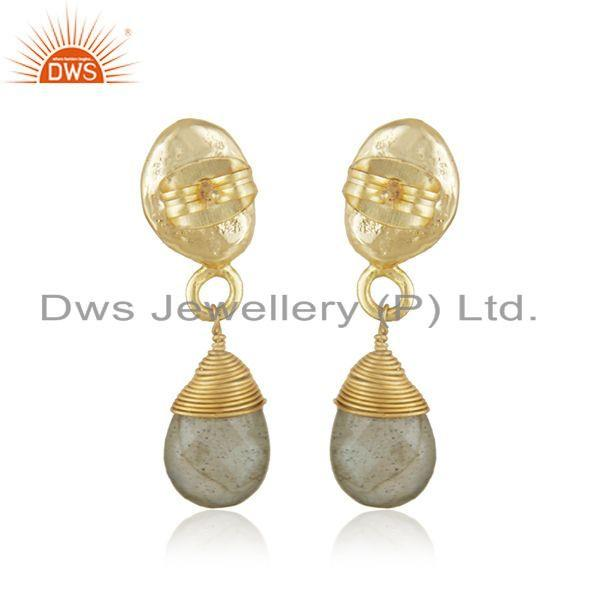Suppliers Labradorite Gemstone Designer Gold Plated Brass Fashion Drop Earrings