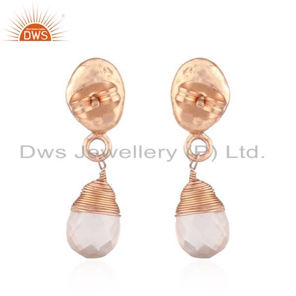 Suppliers Rose Quartz Gemstone Rose Gold Plated Drop Fashion Earrings Jewelry
