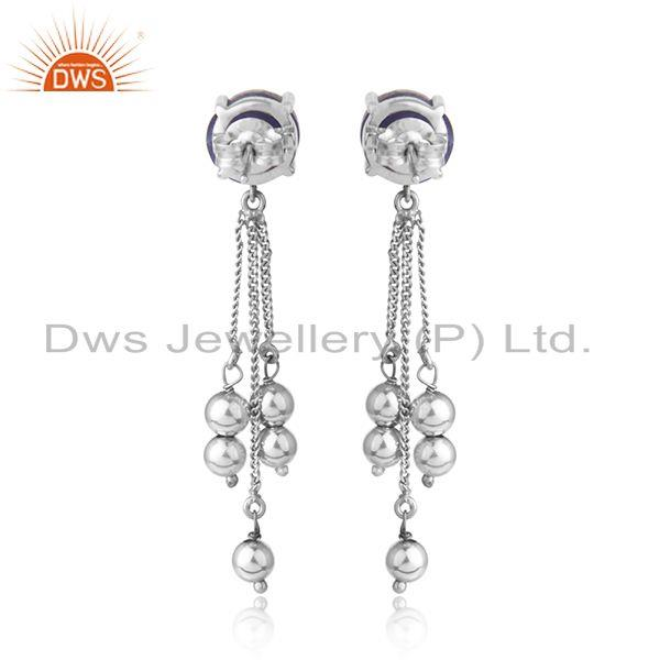 Designer of New look white rhodium plated silver tanzanite gemstone earrings