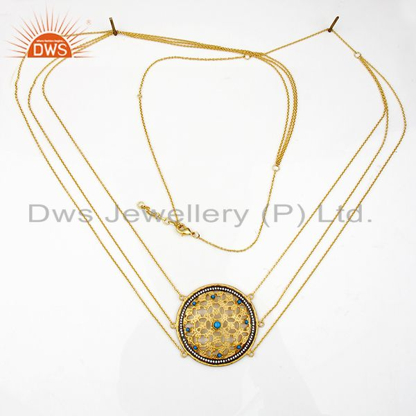 Suppliers 22K Yellow Gold Plated Brass Turquoise Gemstone Designer Fashion Necklace