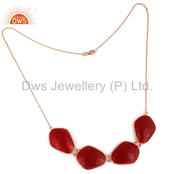 Supplier of Red Aventurine Gemstone Bezel-Set Sterling Silver Necklace With Rose Gold Plated In India