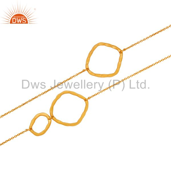Suppliers 18K Gold Plated Sterling Silver Handmade Hammered Link Necklace Graduated Link