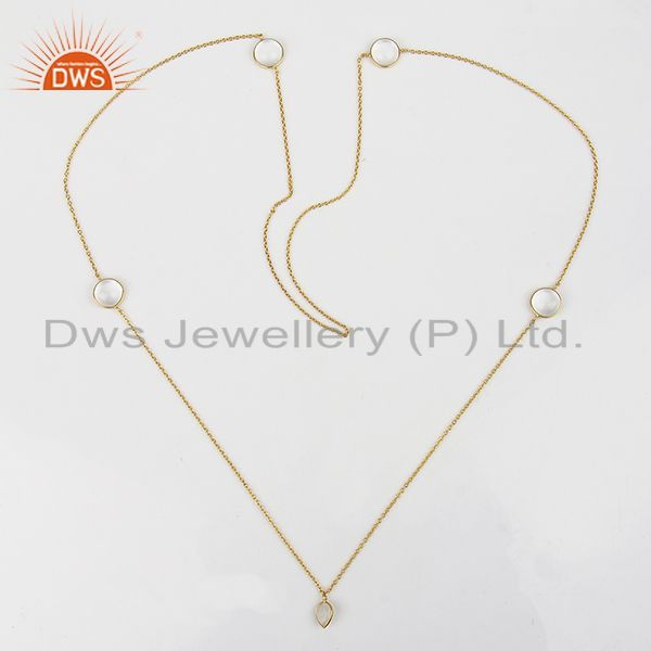 Suppliers 14K Gold Plated Rainbow Moonstone & Crystal Quartz 32 Inch Chain Brass Necklace
