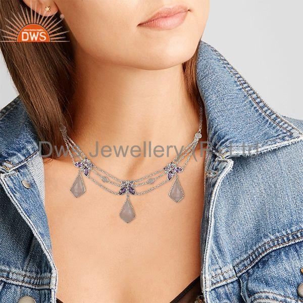 Suppliers Amethyst and Rose Quartz Gemstone 925 Silver Necklace Manufacturers