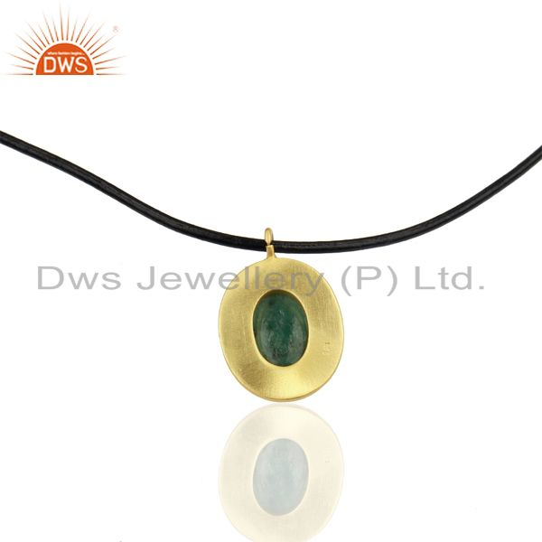 Suppliers 18K Yellow Gold Plated Sterling Silver Emerald Pendant With Black Cord Necklace