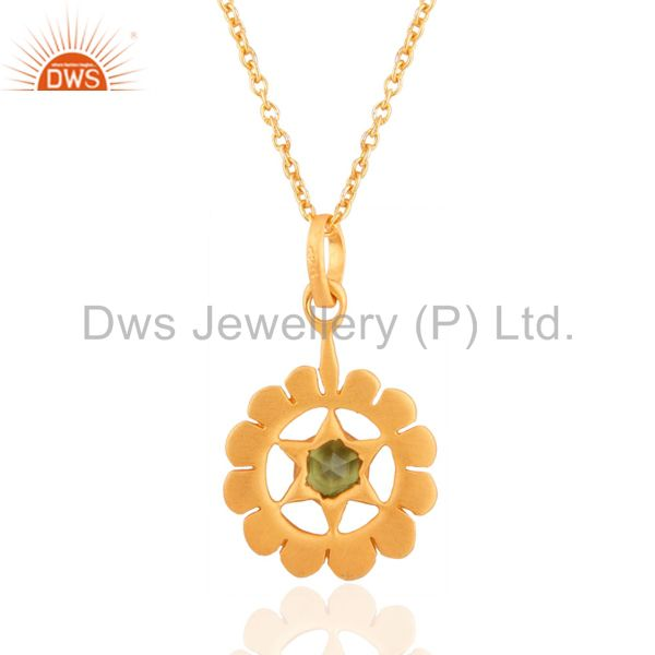 Suppliers Peridot Gemstone 18k Yellow Gold Over Sterling Silver Pendant 16