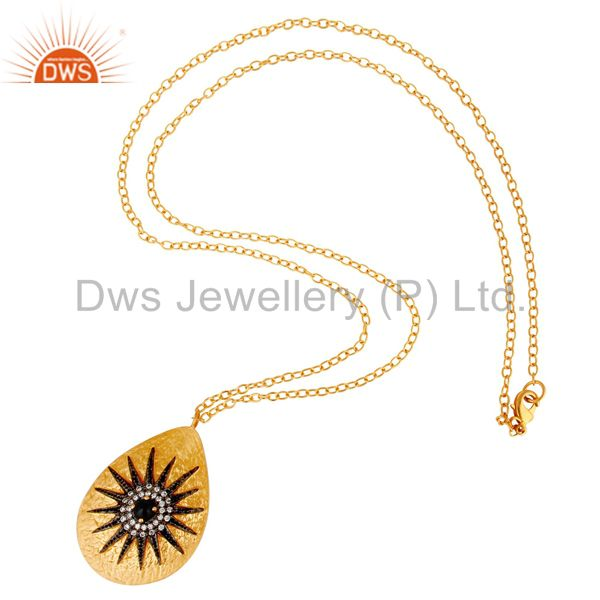 Suppliers Black Onyx & White Zircon 18k Gold Plated Sun Rise Stylish Brass Chain Pendant
