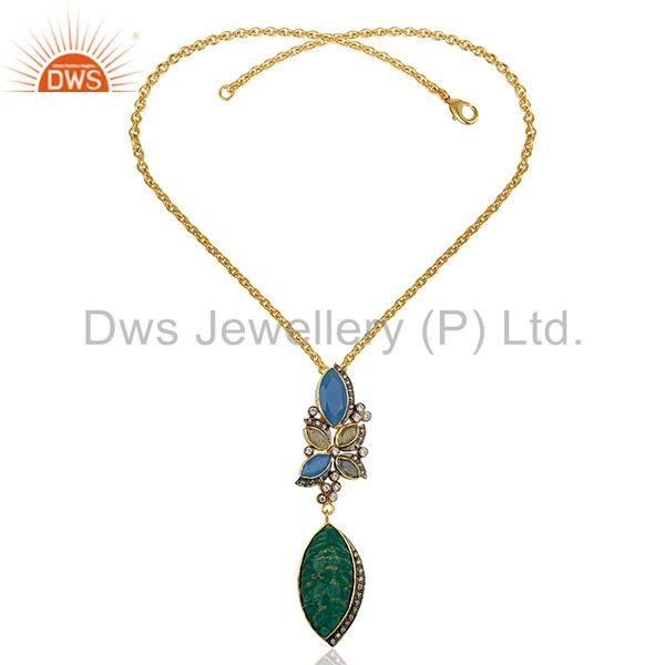 Suppliers Amazonite Gemstone Gold Plated Womens Fashion Pendant Supplier