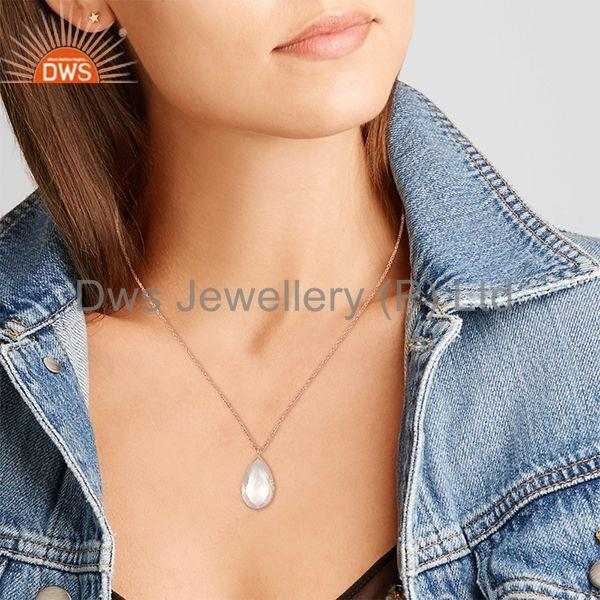 Suppliers Pear Shape Rose Quartz Gemstone 925 Silver Chain Pendant Wholesale