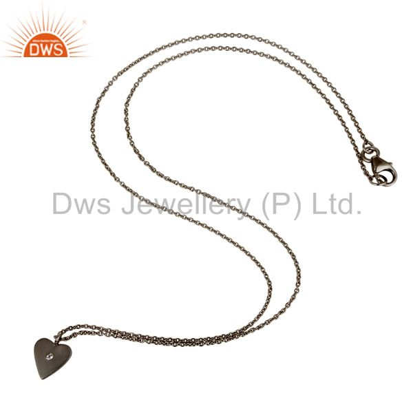 Suppliers Black Oxidized 925 Sterling Silver Heart Design White Topaz Chain Pendant