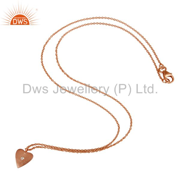 Suppliers 18K Rose Gold Plated 925 Sterling Silver Heart Design White Topaz Chain Pendant