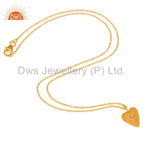 Suppliers 18K Gold Plated 925 Sterling Silver Heart Design White Topaz Chain Pendant