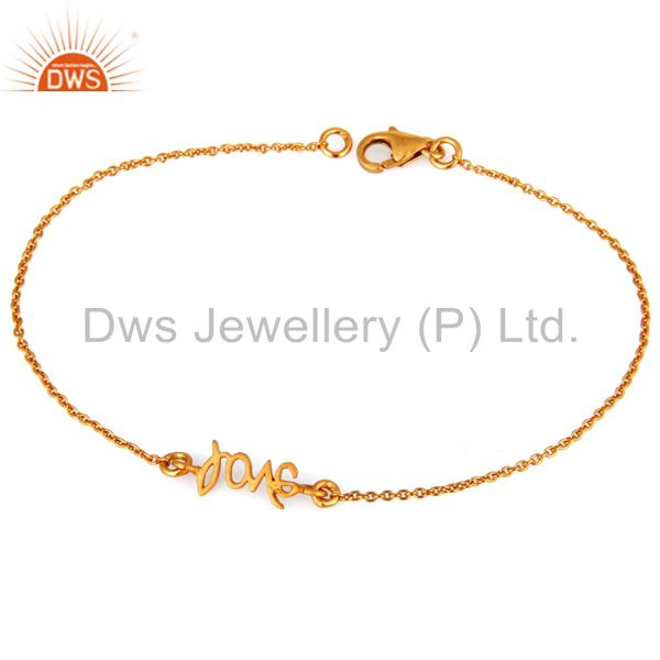 Suppliers 18K Yellow Gold Plated Handmade Love Link Chain Bracelet With Lobster Loc