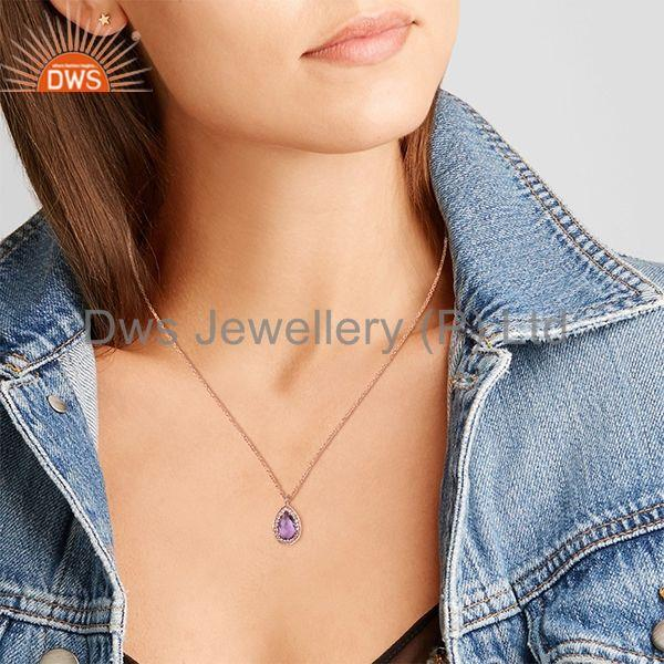 Suppliers Natural Amethyst Birthstone Rose Gold 925 Silver Girls Chain Pendant