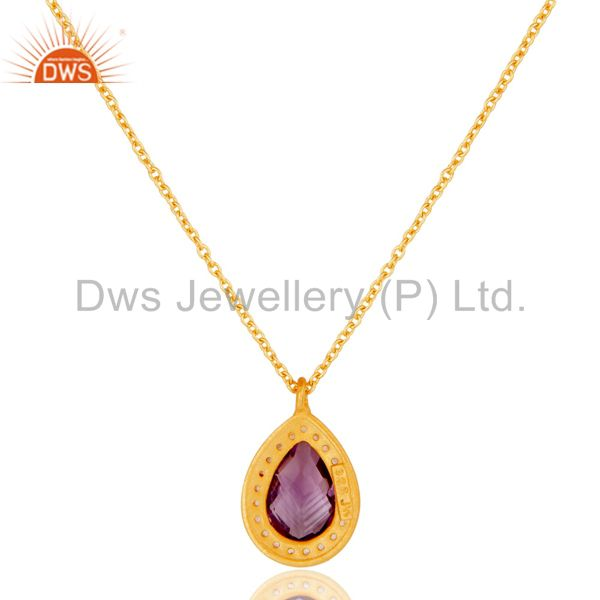 Suppliers 22K Gold Plated 925 Sterling Silver Amethyst Chain Pendant Necklace Jewellery